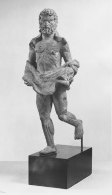 Byzantine. <em>Statuette of Hercules</em>, 3rd century C.E. Bronze, 12 3/16 x 4 15/16 in. (31 x 12.5 cm). Brooklyn Museum, Frank L. Babbott Fund and Henry L. Batterman Fund, 36.161. Creative Commons-BY (Photo: , CUR.36.161_NegA_print_bw.jpg)