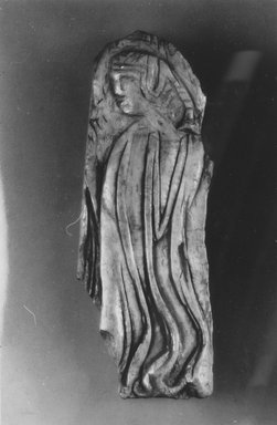 Byzantine. <em>Virgin or a Female Saint</em>, ca. 550 B.C.E, and later. Bone, 4 15/16 x 1 3/4 in. (12.5 x 4.5 cm). Brooklyn Museum, Frank L. Babbott Fund and Henry L. Batterman Fund, 36.167. Creative Commons-BY (Photo: Brooklyn Museum, CUR.36.167_NegB_print_bw.jpg)