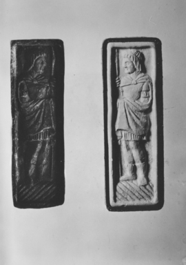 Byzantine. <em>Intaglio of a Soldier with Short Hair and a Short Tunic</em>, 7th century C.E. Steatite, 9/16 × 1 15/16 in. (1.5 × 5 cm). Brooklyn Museum, Frank L. Babbott Fund and Henry L. Batterman Fund, 36.170a-b. Creative Commons-BY (Photo: , CUR.36.170a-b_NegB_print_bw.jpg)