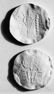 Byzantine. <em>Coin: Hyperpyren of Alexius I</em>, 1081-1118 C.E. Gold, Daim. 1 3/16 in. (3 cm). Brooklyn Museum, Frank L. Babbott Fund and Henry L. Batterman Fund, 36.180. Creative Commons-BY (Photo: Brooklyn Museum, CUR.36.180_bw.jpg)