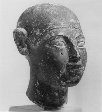 <em>Small Head of a Boy</em>, ca. 2675-2170 B.C.E. Limestone, pigment, 4 x 2 3/4 x 1 9/16 in. (10.1 x 7 x 4 cm). Brooklyn Museum, Charles Edwin Wilbour Fund, 36.208. Creative Commons-BY (Photo: Brooklyn Museum, CUR.36.208_negB_bw.jpg)