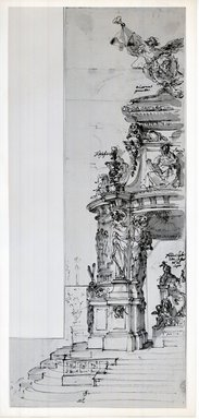 Unknown. <em>Study for a Catafalque</em>. Pen and ink wash, bottom: 18 1/16 x 7 13/16 in. (45.8 x 19.9 cm). Brooklyn Museum, 36.214 (Photo: Brooklyn Museum, CUR.36.214.jpg)