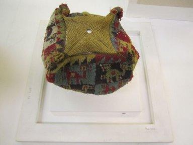 Wari. <em>Hat</em>, 600-1000 C.E. Camelid fiber, 5 1/2 x 7 1/16in. (14 x 18cm). Brooklyn Museum, Gift of Mrs. Eugene Schaefer, 36.400. Creative Commons-BY (Photo: Brooklyn Museum, CUR.36.400_view01.jpg)