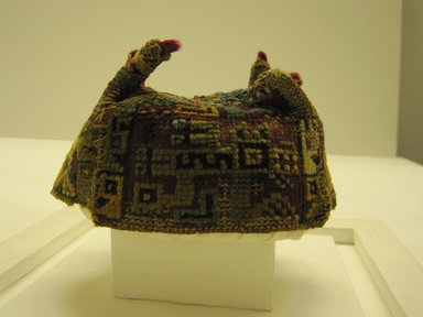 Wari. <em>Hat</em>, 600-1000 C.E. Camelid fiber, 4 5/16 x 6 5/16in. (11 x 16cm). Brooklyn Museum, Gift of Mrs. Eugene Schaefer, 36.402. Creative Commons-BY (Photo: Brooklyn Museum, CUR.36.402_view4.jpg)