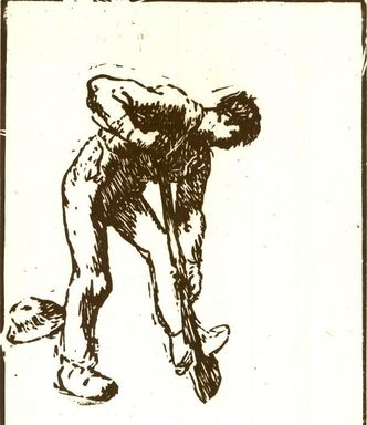 Jean-François Millet (French, 1814-1875). <em>Peasant Digging</em>, 1863. Woodcut on Japan paper, 5 9/16 x 4 1/8 in. (14.1 x 10.5 cm). Brooklyn Museum, Gift of Mrs. William A. Putnam, 36.484 (Photo: Brooklyn Museum, CUR.36.484.jpg)