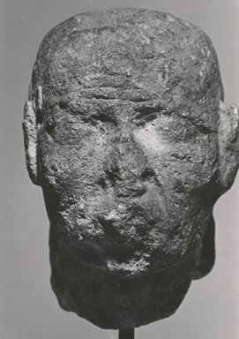 <em>Head of an Old Man</em>, 30 B.C.E.-100 C.E. Limestone, plaster, pigment, 3 3/8 x 2 3/8 x 2 15/16 in. (8.5 x 6 x 7.5 cm). Brooklyn Museum, Gift of Louis Herse, 36.744. Creative Commons-BY (Photo: Brooklyn Museum, CUR.36.744_NegL76_7_print_bw.jpg)