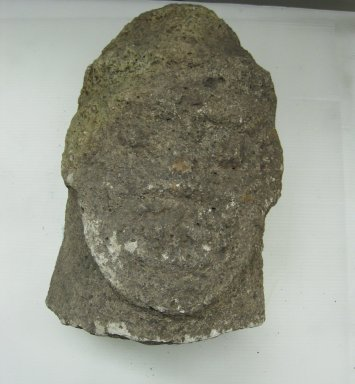 Chontales Style. <em>Head Fragment from Cylindrical  Statue</em>, 600-850. Andesite, 19 5/16 x 11 13/16 x 9 in. (49 x 30 x 22.9 cm). Brooklyn Museum, Frank L. Babbott Fund, 36.858. Creative Commons-BY (Photo: Brooklyn Museum, CUR.36.858_view1.jpg)