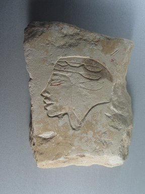 <em>Trial Piece with Head of a Man</em>, ca. 1352-1336 B.C.E. Limestone, pigment, 7 11/16 × 5 1/2 × 1 7/16 in. (19.6 × 14 × 3.7 cm). Brooklyn Museum, Gift of the Egypt Exploration Society, 36.872. Creative Commons-BY (Photo: Brooklyn Museum, CUR.36.872_view02.jpg)