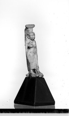 <em>Small Statue of Nephthys Walking</em>, 664-343 B.C.E. Faience Brooklyn Museum, Charles Edwin Wilbour Fund, 37.1081E. Creative Commons-BY (Photo: Brooklyn Museum, CUR.37.1081E_NegID_37.1009E_GRPA_cropped_bw.jpg)