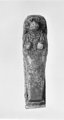 Egyptian. <em>Amulet of one of the Four Sons of Horus</em>, ca. 838-656 B.C.E. Faience, Height: 3 in. (7.6 cm). Brooklyn Museum, Charles Edwin Wilbour Fund, 37.1109E. Creative Commons-BY (Photo: Brooklyn Museum, CUR.37.1109E_37.889E_NegGRPA_cropped_bw.jpg)
