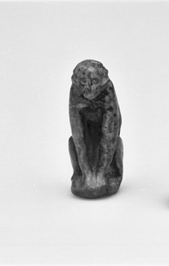 <em>Amulet Representing an Ape</em>. Faience, glazed, 1 3/8 x 9/16 x 13/16 in. (3.5 x 1.4 x 2 cm). Brooklyn Museum, Charles Edwin Wilbour Fund, 37.1172E. Creative Commons-BY (Photo: Brooklyn Museum, CUR.37.1172E_05.370_GRPA_cropped_bw.jpg)