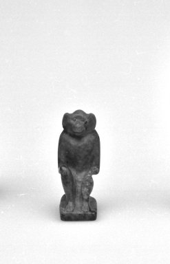 <em>Monkey Seal Inscribed for King Apries</em>, 664-332 B.C.E. Lapis lazuli, 11/16 x 1/4 x 1/2 in. (1.8 x 0.6 x 1.2 cm). Brooklyn Museum, Charles Edwin Wilbour Fund, 37.1203E. Creative Commons-BY (Photo: Brooklyn Museum, CUR.37.1203E_05.370_GRPA_cropped_bw.jpg)