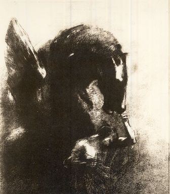 Odilon Redon (French, 1840-1916). <em>Pegase Captif</em>, 1889. Lithograph on China paper laid down, 16 5/8 x 12 3/16 in. (42.3 x 31 cm). Brooklyn Museum, Charles Stewart Smith Memorial Fund, 37.121 (Photo: Brooklyn Museum, CUR.37.121.jpg)