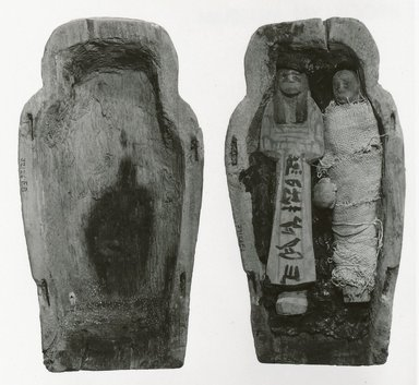 <em>Small Model of a Coffin with Two Ushabti of Seba</em>, ca. 1075-945 B.C.E. Wood, stone, linen, Sarcophagus length: 9 1/2 in. (24.1 cm). Brooklyn Museum, Charles Edwin Wilbour Fund, 37.126Ea-b. Creative Commons-BY (Photo: Brooklyn Museum, CUR.37.126Ea-b_NegC_print_bw.jpg)