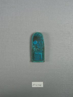 <em>Plaque with Lion-Headed Goddess Representation</em>, ca. 1075-945 B.C.E. Faience, 1 3/4 x 3/4 x 3/16 in. (4.5 x 1.9 x 0.5 cm). Brooklyn Museum, Charles Edwin Wilbour Fund, 37.1270E. Creative Commons-BY (Photo: Brooklyn Museum, CUR.37.1270E_view1.jpg)