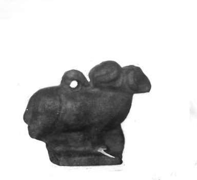 <em>Four-Headed Ram Amulet</em>, 664-332 B.C.E. Lapis lazuli, 1 x 1/2 x 1 1/4 in. (2.5 x 1.3 x 3.1 cm). Brooklyn Museum, Charles Edwin Wilbour Fund, 37.1326E. Creative Commons-BY (Photo: Brooklyn Museum, CUR.37.1326E_NegID_37.1121E_GRPA_cropped_bw.jpg)