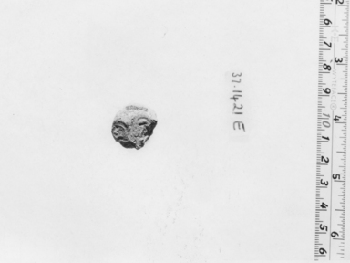 <em>Small Sealing</em>. Clay or mud, 13/16 x 13/16 x 7/8 in. (2.1 x 2.1 x 2.2 cm). Brooklyn Museum, Charles Edwin Wilbour Fund, 37.1421E. Creative Commons-BY (Photo: , CUR.37.1421E_NegA_print_bw.jpg)