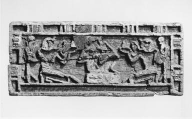 <em>Oblong Panel</em>, ca. 1539-1075 B.C.E. Wood, gesso, glass, gold leaf, lapis lazuli, pigment, 1 1/2 x 3 9/16 x 3/16 in. (3.8 x 9.1 x 0.4 cm). Brooklyn Museum, Charles Edwin Wilbour Fund, 37.1430E. Creative Commons-BY (Photo: Brooklyn Museum, CUR.37.1430E_NegC_print_bw.jpg)