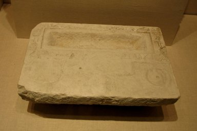 <em>Offering Basin</em>, ca. 2345-2195 B.C.E. Limestone, 5 1/8 x 10 1/2 x 15 5/8 in. (13 x 26.7 x 39.7 cm). Brooklyn Museum, Charles Edwin Wilbour Fund, 37.1493E. Creative Commons-BY (Photo: Brooklyn Museum, CUR.37.1493E_wwgA-2.jpg)