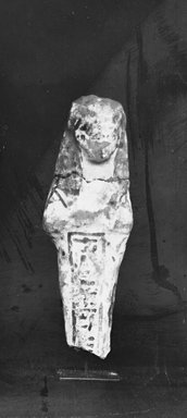 Egyptian. <em>Ushabti</em>, ca. 1292-656 B.C.E. Nile mud, pigment, Measurements: Height .107 m, width .032 m. Brooklyn Museum, Charles Edwin Wilbour Fund, 37.159E. Creative Commons-BY (Photo: Brooklyn Museum, CUR.37.159E_37.142E_NegGRPA_cropped_bw.jpg)