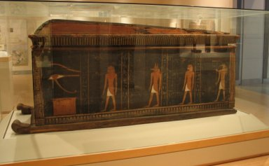 <em>Outer Coffin of Kamwese</em>, ca. 1539-1295 B.C.E. Wood, pigment, 41 3/4 x 35 7/16 x 95 1/4 in. (106 x 90 x 242 cm). Brooklyn Museum, Charles Edwin Wilbour Fund, 37.15E. Creative Commons-BY (Photo: Brooklyn Museum, CUR.37.15E_view1_wwgA-2.jpg)