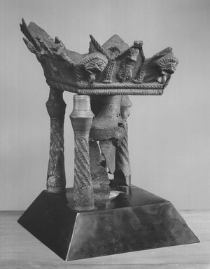<em>Altar</em>. Bronze, 9 5/16 x 4 3/16 x 4 5/16 in. (23.7 x 10.7 x 11 cm). Brooklyn Museum, Charles Edwin Wilbour Fund, 37.1614E. Creative Commons-BY (Photo: Brooklyn Museum, CUR.37.1614E_NegB_print_bw.jpg)