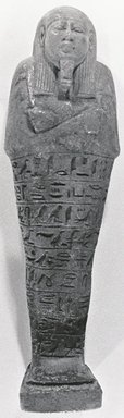<em>Ushabti of Pedenit</em>, 664-332 B.C.E. Faience, height: 5 13/16 in. (14.8 cm); width: 1 11/16 in. (4.3 cm); depth of base: 1 1/4 in. (3.2 cm). Brooklyn Museum, Charles Edwin Wilbour Fund, 37.168E. Creative Commons-BY (Photo: Brooklyn Museum, CUR.37.168E_NegA_print_bw.jpg)