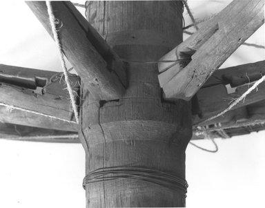 <em>Large Chariot Wheel</em>, ca. 185 B.C.E. Wood (cypress), Diam. 14 15/16 in. (38 cm). Brooklyn Museum, Charles Edwin Wilbour Fund, 37.1700E. Creative Commons-BY (Photo: Brooklyn Museum, CUR.37.1700E_NegF_print_bw.jpg)