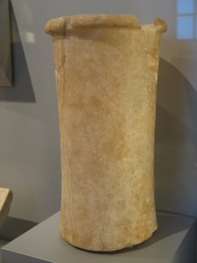 <em>Cylindrical Vase</em>, ca. 2675-2170 B.C.E. Egyptian alabaster, 14 x Diam. 7 7/8 in. (35.5 x 20 cm). Brooklyn Museum, Charles Edwin Wilbour Fund, 37.1750E. Creative Commons-BY (Photo: Brooklyn Museum, CUR.37.1750E_erg2.jpg)