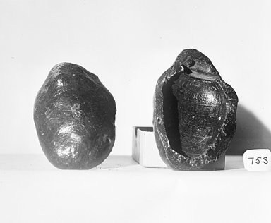 <em>Mold for Making a Heart Scarab</em>, ca. 1292–1190 B.C.E. Unknown brown substance, 37.1758Ea: 2 3/4 × 1 15/16 × 11/16 in. (7 × 5 × 1.8 cm). Brooklyn Museum, Charles Edwin Wilbour Fund, 37.1758Ea-b. Creative Commons-BY (Photo: Brooklyn Museum, CUR.37.1758E_negA_bw.jpg)
