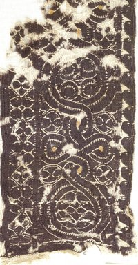 Coptic. <em>3 Tunic Fragments with Botanical Decorations</em>, 4th-7th century C.E. Linen, wool, 37.1764Ea: 5 x 34 in. (12.7 x 86.4 cm). Brooklyn Museum, Charles Edwin Wilbour Fund, 37.1764Ea-c. Creative Commons-BY (Photo: Brooklyn Museum (in collaboration with Index of Christian Art, Princeton University), CUR.37.1764E-A_detail01_ICA.jpg)