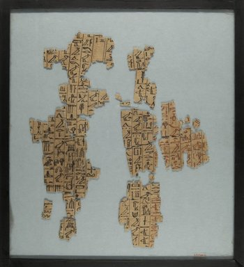 <em>Fragments from a Book of the Dead</em>, ca. 1539-1190 B.C.E. Papyrus, ink, Glass: 12 3/16 x 13 1/2 in. (31 x 34.3 cm). Brooklyn Museum, Charles Edwin Wilbour Fund, 37.1787E (Photo: Brooklyn Museum, CUR.37.1787E_front_IMLS_PS5.jpg)