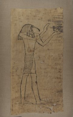 <em>Thoth Holding Wadjet</em>, 664-332 B.C.E. Linen, 17 5/16 x 8 3/4 in. (44 x 22.2 cm). Brooklyn Museum, Charles Edwin Wilbour Fund, 37.1819E. Creative Commons-BY (Photo: Brooklyn Museum, CUR.37.1819E_IMLS_PS5.jpg)