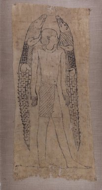 <em>God Flanked by Two Crocodiles</em>, 664-525 B.C.E., or later. Linen, 20 7/8 x 9 7/16 in. (53 x 24 cm). Brooklyn Museum, Charles Edwin Wilbour Fund, 37.1820E. Creative Commons-BY (Photo: Brooklyn Museum, CUR.37.1820E_IMLS_PS5.jpg)