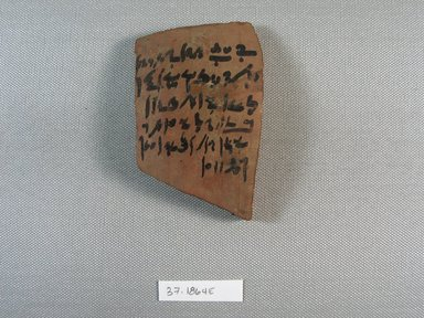 <em>Ostracon</em>, Year 25, Pachons I. Terracotta, pigment, 2 7/16 x 5/16 x 3 15/16 in. (6.2 x 0.8 x 10 cm). Brooklyn Museum, Charles Edwin Wilbour Fund, 37.1864E. Creative Commons-BY (Photo: Brooklyn Museum, CUR.37.1864E_view1.jpg)