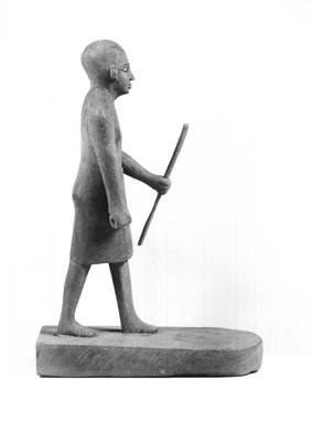 <em>Small Sculpture of Man</em>, 19th century C.E. Wood, paint, Height: 8 9/16 in. (21.7 cm). Brooklyn Museum, Charles Edwin Wilbour Fund, 37.1894E. Creative Commons-BY (Photo: Brooklyn Museum, CUR.37.1894E_NegB_print_bw.jpg)