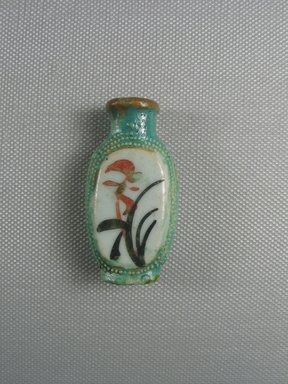 Chinese. <em>Snuff Bottle</em>, 19th century. Porcelain (probably), Panel: 2 x 1 x 9/16 in. (5.1 x 2.6 x 1.4 cm). Brooklyn Museum, Charles Edwin Wilbour Fund, 37.2025E. Creative Commons-BY (Photo: Brooklyn Museum, CUR.37.2025E_side1.jpg)