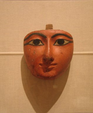<em>Face from an Anthropoid Coffin</em>, ca. 1070-945 B.C.E. Wood, gesso, pigment, 8 7/16 x 8 1/16 x 4 5/16 in. (21.5 x 20.5 x 11 cm). Brooklyn Museum, Charles Edwin Wilbour Fund, 37.2037E. Creative Commons-BY (Photo: Brooklyn Museum, CUR.37.2037E_wwg8.jpg)