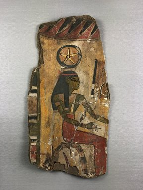 <em>Cartonnage Fragment with Goddess Seshat</em>, ca. 1075-712 B.C.E. Linen, gesso, pigment, 10 13/16 × 5 11/16 × 11/16 in. (27.4 × 14.4 × 1.8 cm). Brooklyn Museum, Charles Edwin Wilbour Fund, 37.2049E (Photo: , CUR.37.2049E_view02.jpg)