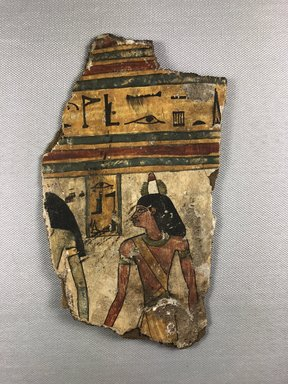 <em>Cartonnage Fragment with the Deceased</em>, ca. 760-656 B.C.E. Linen, gesso, pigment, 7 15/16 × 4 5/8 × 1/2 in. (20.2 × 11.7 × 1.3 cm). Brooklyn Museum, Charles Edwin Wilbour Fund, 37.2050E (Photo: , CUR.37.2050E_view02.jpg)