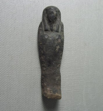 <em>Ushabti of Yuf-o</em>, 664-343 B.C.E. Faience, 3 1/4 x 1 x 1/2 in. (8.3 x 2.5 x 1.3 cm). Brooklyn Museum, Charles Edwin Wilbour Fund, 37.241E. Creative Commons-BY (Photo: Brooklyn Museum, CUR.37.241E_view2.jpg)