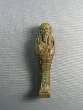 <em>Ushabti</em>, 664-332 B.C.E. Faience Brooklyn Museum, Charles Edwin Wilbour Fund, 37.244E. Creative Commons-BY (Photo: Brooklyn Museum, CUR.37.244E_view01.jpg)