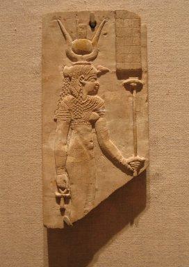 <em>Sculptor's Model of the Goddess Isis</em>, ca. 305-30 B.C.E. Limestone, 6 3/4 x 3 5/16 x 9/16 in. (17.2 x 8.4 x 1.5 cm). Brooklyn Museum, Charles Edwin Wilbour Fund, 37.270E. Creative Commons-BY (Photo: Brooklyn Museum, CUR.37.270E_wwg8.jpg)