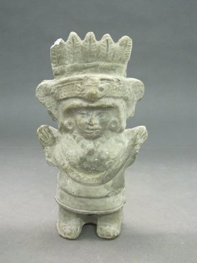 Maya. <em>Hollow Figurine</em>. Gray pottery Brooklyn Museum, Frank Sherman Benson Fund and the Henry L. Batterman Fund, 37.2905PA. Creative Commons-BY (Photo: Brooklyn Museum, CUR.37.2905PA.jpg)