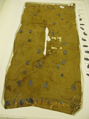 Chimú. <em>Tunic or Tabard?</em>, 1000-1532. Cotton, feathers, silver, 28 3/8 x 57 1/16 in. (72 x 145 cm). Brooklyn Museum, Frank Sherman Benson Fund and the Henry L. Batterman Fund, 37.2908PA. Creative Commons-BY (Photo: Brooklyn Museum, CUR.37.2908PA.jpg)