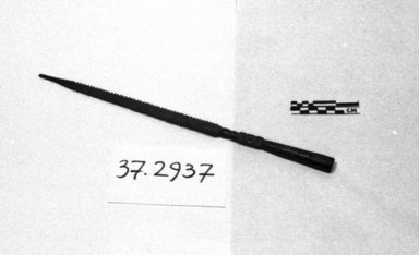 <em>Ferrule</em>. Iron, 9/16 x 14 in. (1.5 x 35.5 cm). Brooklyn Museum, Frank Sherman Benson Fund and the Henry L. Batterman Fund, 37.2937PA. Creative Commons-BY (Photo: Brooklyn Museum, CUR.37.2937PA_cropped_bw.jpg)