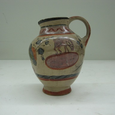 Tonala. <em>Small Pitcher</em>, 19th century. Glazed ceramic, pigment, 6 x 2 1/4 x 3 7/8in. (15.2 x 5.7 x 9.8cm). Brooklyn Museum, Frank Sherman Benson Fund and the Henry L. Batterman Fund, 37.2957PA. Creative Commons-BY (Photo: Brooklyn Museum, CUR.37.2957PA_view1.jpg)