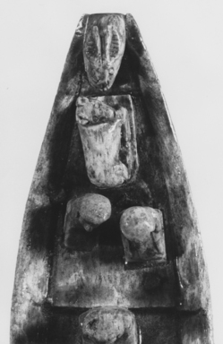 <em>Model of a Boat</em>, 19th century C.E. Steatite, linen, 3 1/16 × 2 5/16 × 8 9/16 in. (7.8 × 5.8 × 21.8 cm). Brooklyn Museum, Charles Edwin Wilbour Fund, 37.322E. Creative Commons-BY (Photo: , CUR.37.322E_NegM_print_bw.jpg)