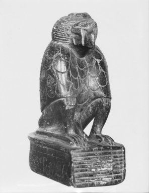 <em>Figure of a Cynocephalus Ape</em>. Steatite, 4 13/16 x 1 15/16 x 3 1/4 in. (12.3 x 5 x 8.2 cm). Brooklyn Museum, Charles Edwin Wilbour Fund, 37.324E. Creative Commons-BY (Photo: Brooklyn Museum, CUR.37.324E_37.324E_GRPA_print_cropped_bw.jpg)