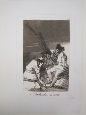 Francisco de Goya y Lucientes (Spanish, 1746-1828). <em>Lads Making Ready (Muchachos al avío)</em>, 1797-1798. Etching, aquatint, and burin on laid paper, Sheet: 11 7/8 x 8 in. (30.2 x 20.3 cm). Brooklyn Museum, A. Augustus Healy Fund, Frank L. Babbott Fund, and Carll H. de Silver Fund, 37.33.11 (Photo: Brooklyn Museum, CUR.37.33.11.jpg)